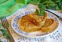 Штрудель с мясом и картофелем