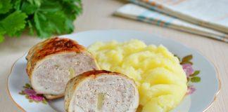 Куриные рулетики с мясным фаршем на сковороде