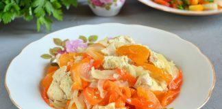 Куриная грудка с овощами духовке - рецепт