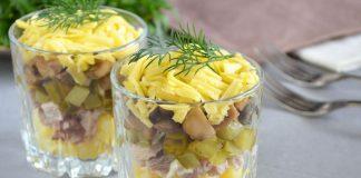 Салат со свининой, грибами и сыром