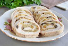 куриный рулет с грибами и сыром - рецепт