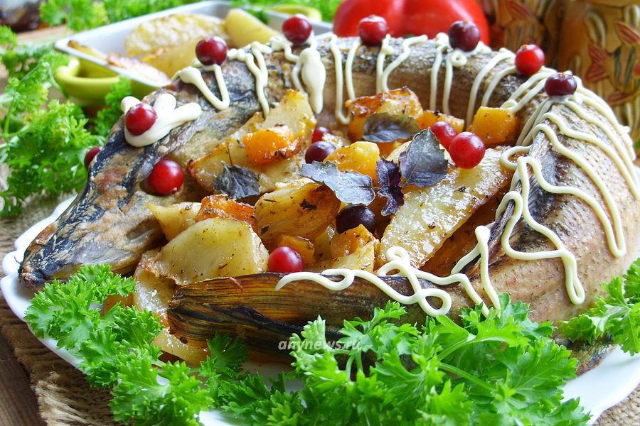 Щука с овощами в духовке - рецепт