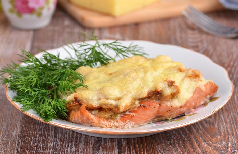 Горбуша в духовке с грибами и сыром - рецепт