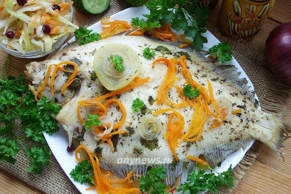 Камбала с овощами запеченная в духовке