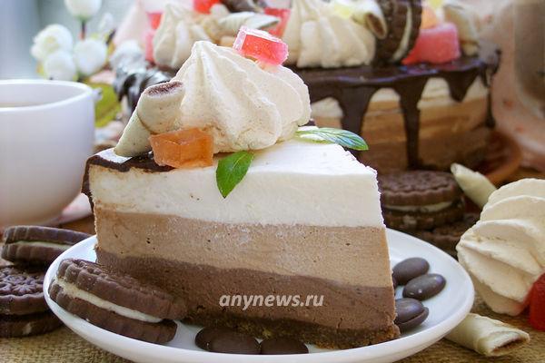 домашний торт Три шоколада