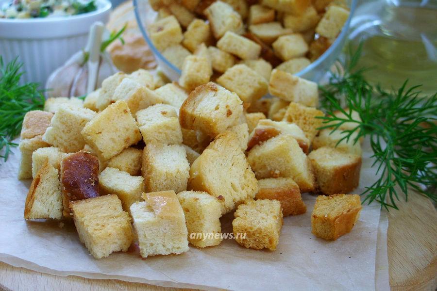 сухарики с чесноком в духовке - рецепт