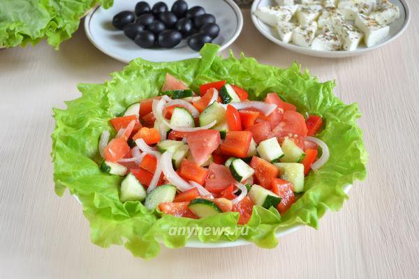 Греческий салат с сыром фета - рецепт пошаговый с фото