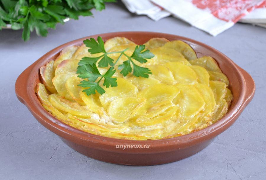 картошка ломтиками со сметаной - рецепт