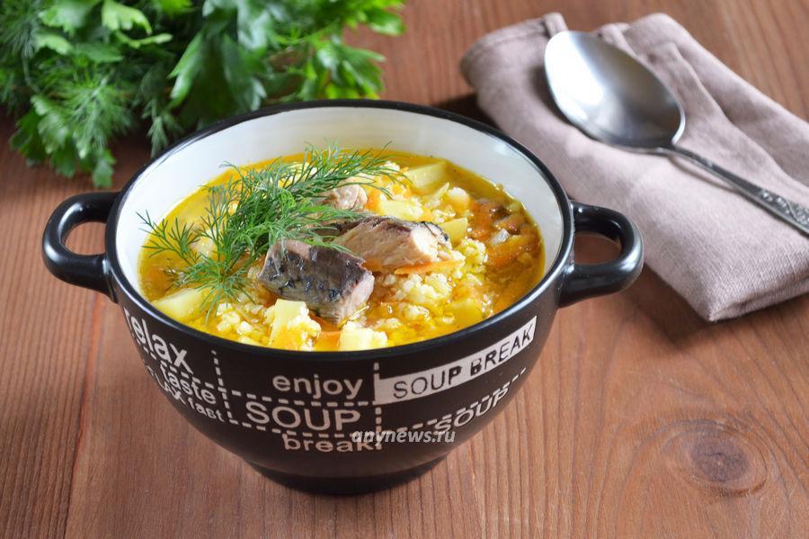 Рыбный суп из консервов с пшеном - рецепт