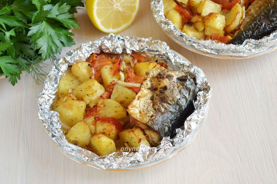 Скумбрия с картошкой в фольге - рецепт