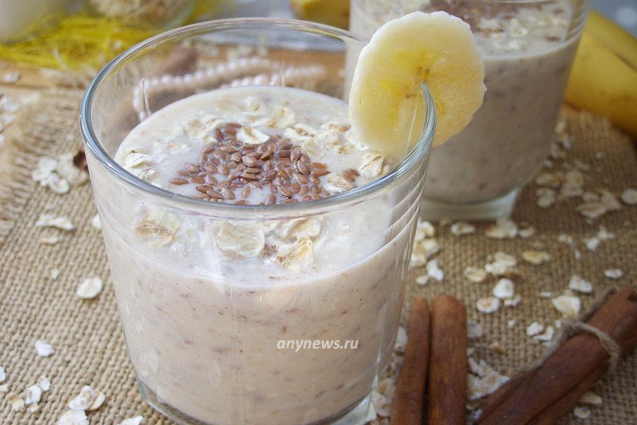 смузи из овсянки с бананом и молоком - рецепт