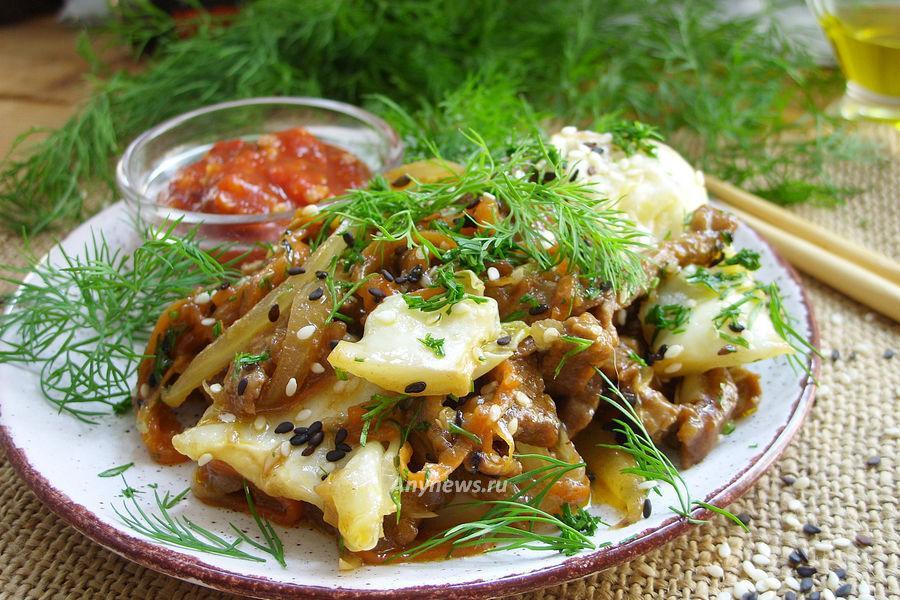 Говядина по-китайски с овощами в соевом соусе