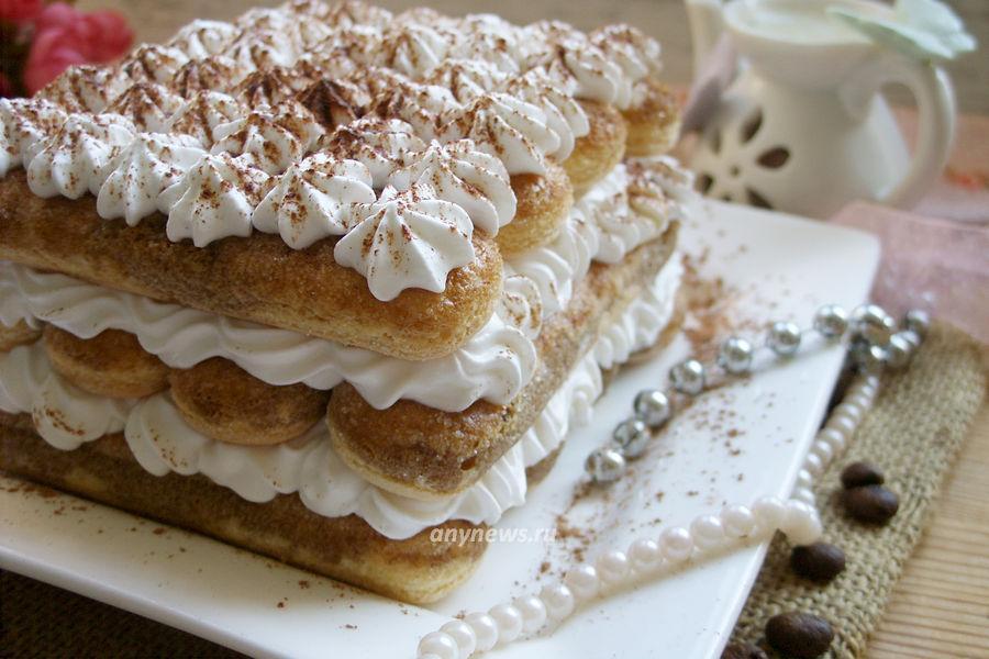 Тирамису с творогом и печеньем - рецепт