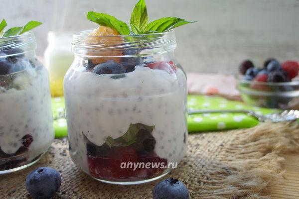 Семена чиа с кефиром (йогуртом)