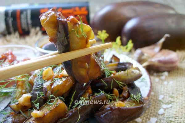Баклажаны с чесноком и соевым соусом