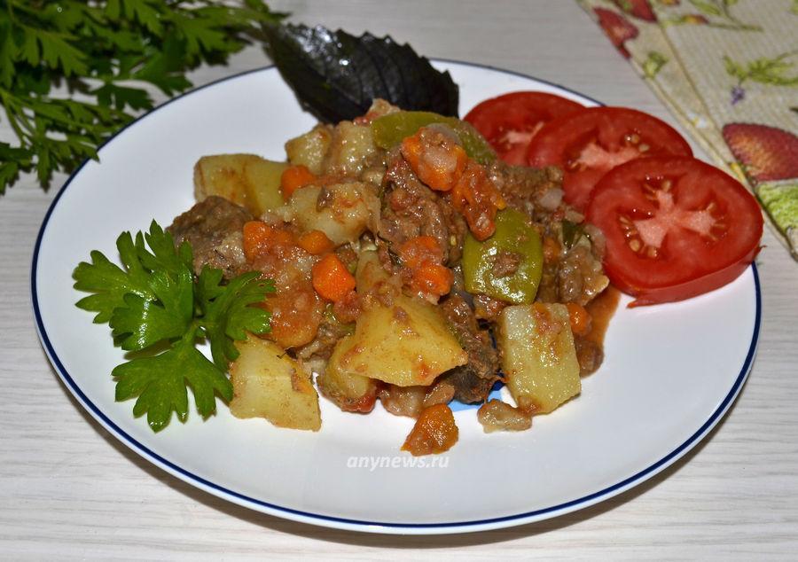 Говядина с овощами в казане - рецепт