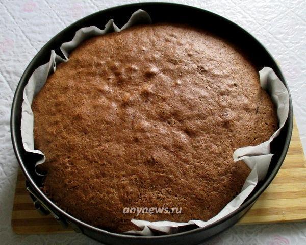 Бисквитный шоколадный торт с заварным кремом