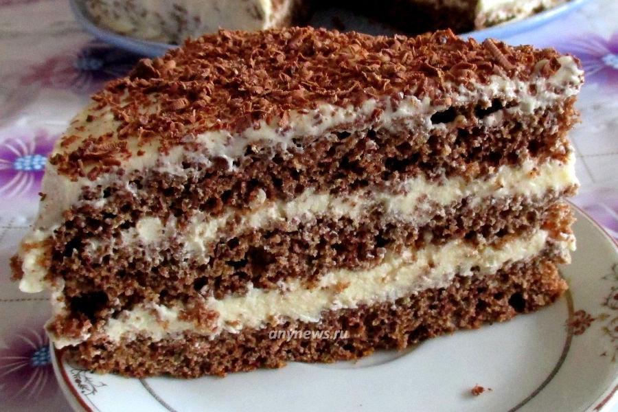 Бисквитный шоколадный торт с заварным кремом - рецепт