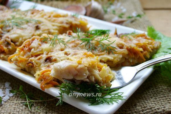 Вкусное филе карпа в духовке с овощами и сыром