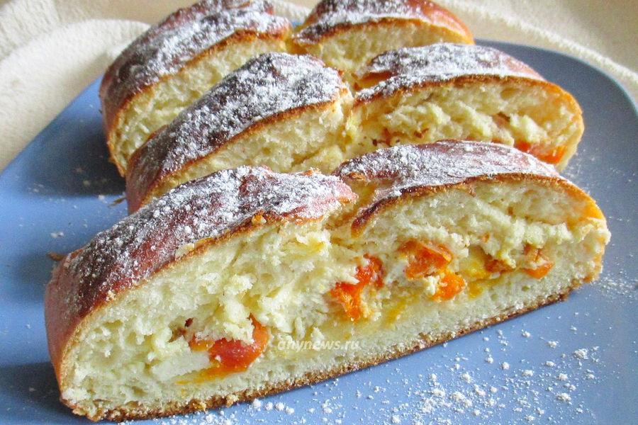 Дрожжевой пирог на кефире с творогом - рецепт