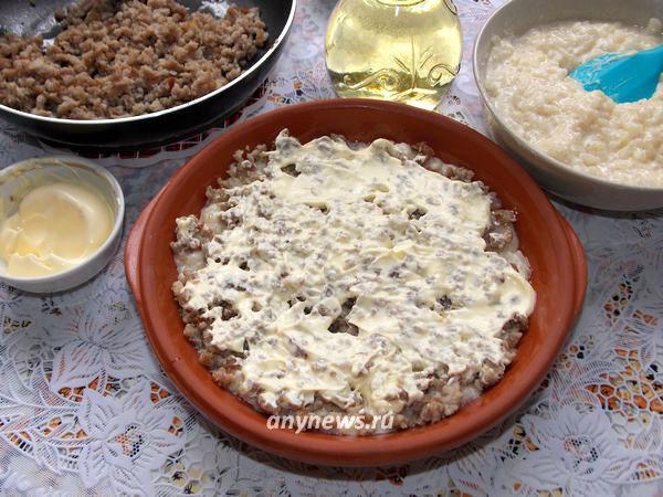 Рисовая запеканка с фаршем в духовке