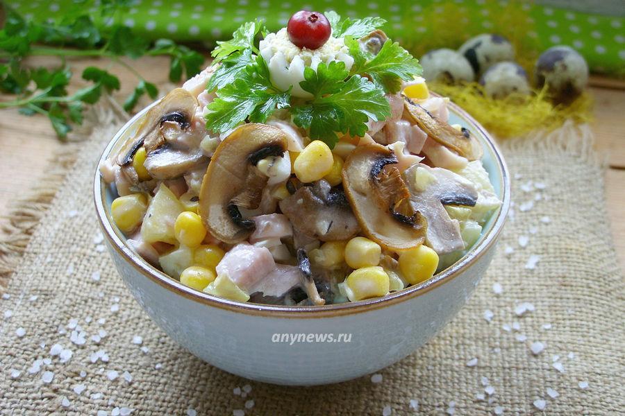 Салат с копченой курицей и ананасом - рецепт