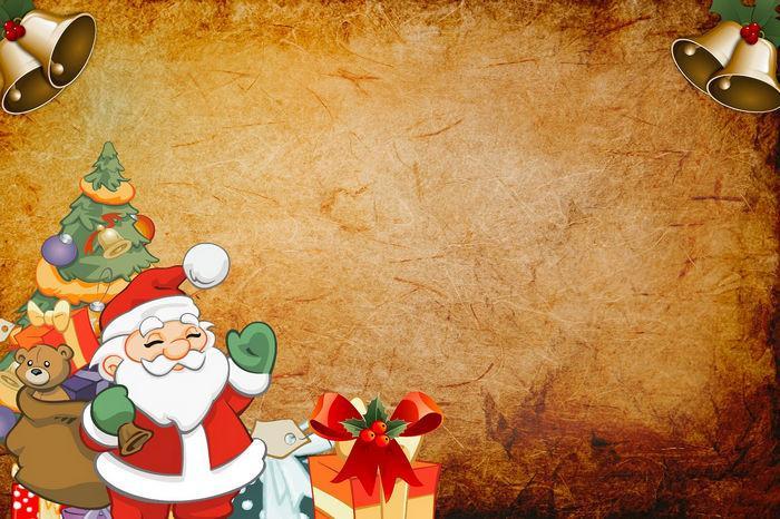 Шаблон новогодней открытки - дед мороз