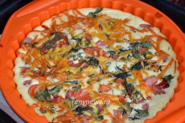 Быстрая пицца на сметане и майонезе в духовке