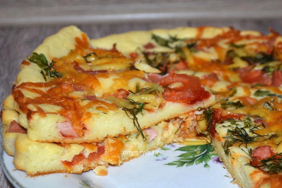 Пицца на сметане без дрожжей - рецепт
