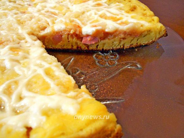 Быстрая заливная пицца на сковороде
