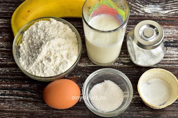 Банановые панкейки на кефире - ингредиенты