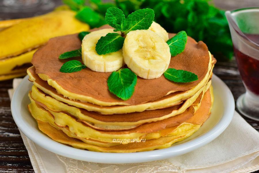 Панкейки с бананом на кефире - рецепт