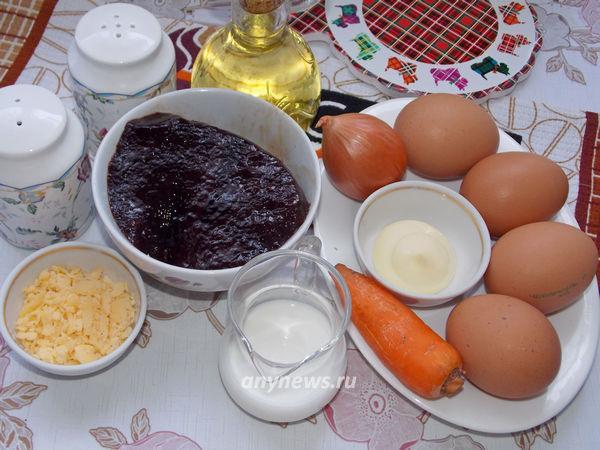 Яичные блины с начинкой - ингредиенты
