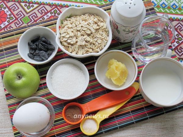 Овсяная запеканка с яблоками - ингредиенты