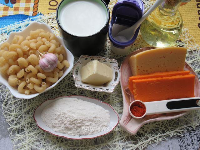 Макароны с сыром по-американски - ингредиенты