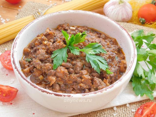 соус болоньезе с мясным фаршем - рецепт с фото