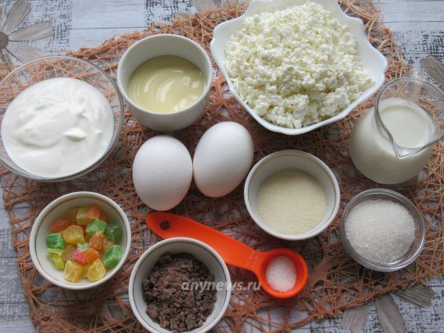 Творожное суфле с желатином без выпечки - ингредиенты