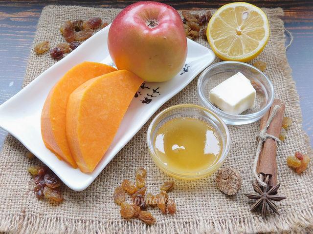 Тыква с яблоками в духовке - ингредиенты
