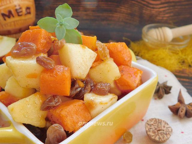 Тыква с яблоками в духовке приготовленная кусочками