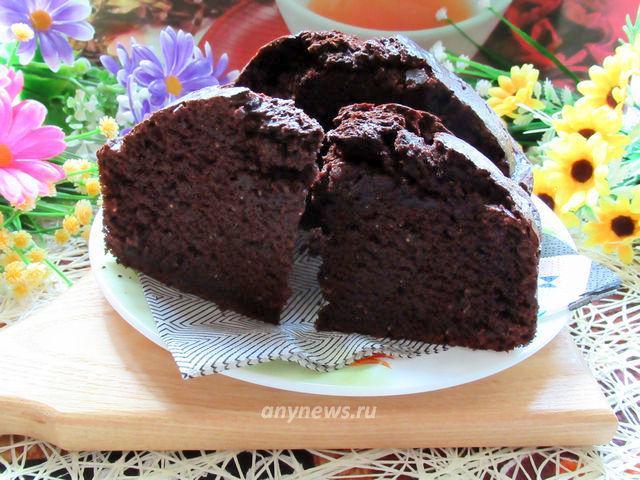 Шоколадный кекс на кефире с кокосовой стружкой