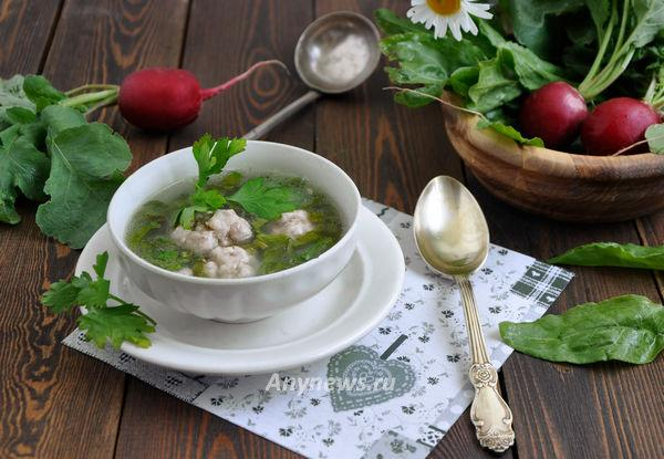 Суп с щавелем и фрикадельками - рецепт