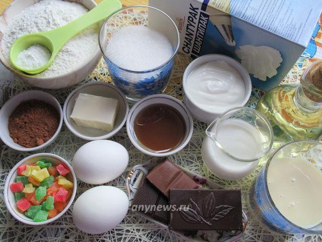 Бисквитный торт со сливками - ингредиенты