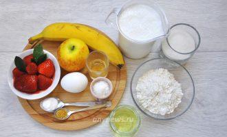 Фруктовые оладьи с яблоком и бананом - ингредиенты