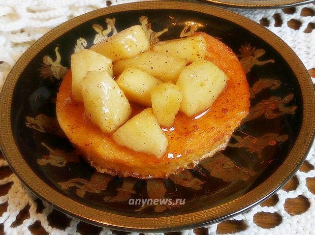 сладкие гренки с яблоком и корицей - рецепт с фото