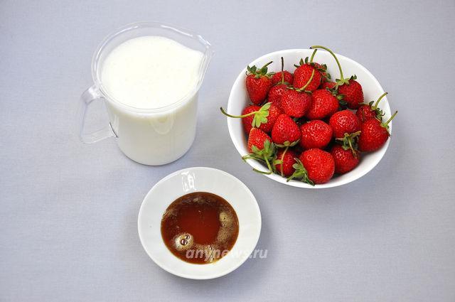 Клубничный смузи в блендере - ингредиенты