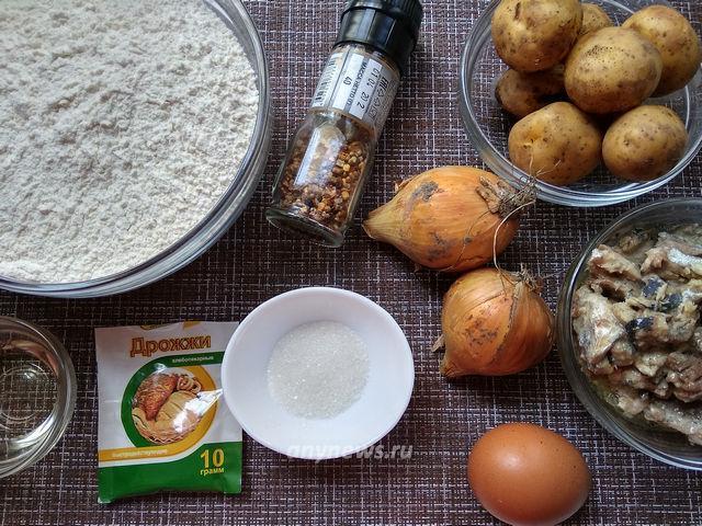 Пирог с рыбными консервами - ингредиенты
