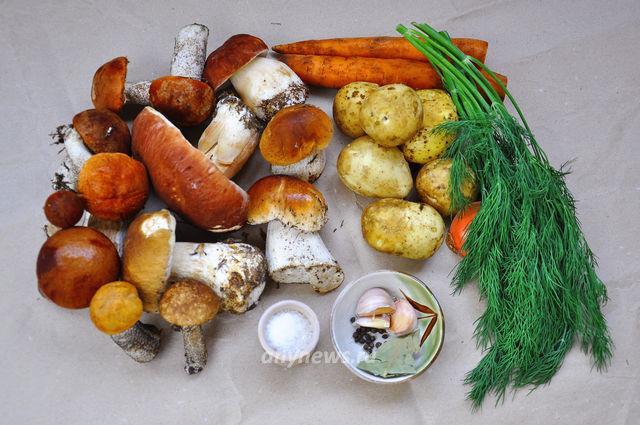 Грибной суп из белых грибов и подберезовиков - ингредиенты